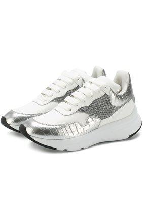 Кожаные кроссовки на массивной подошве | Фото №1