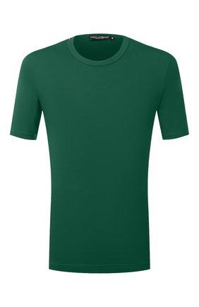 Мужская хлопковая футболка с круглым вырезом DOLCE & GABBANA зеленого цвета, арт. G8GX8T/FU7EQ   Фото 1 (Рукава: Короткие; Материал внешний: Хлопок; Длина (для топов): Стандартные; Принт: Без принта; Стили: Кэжуэл)