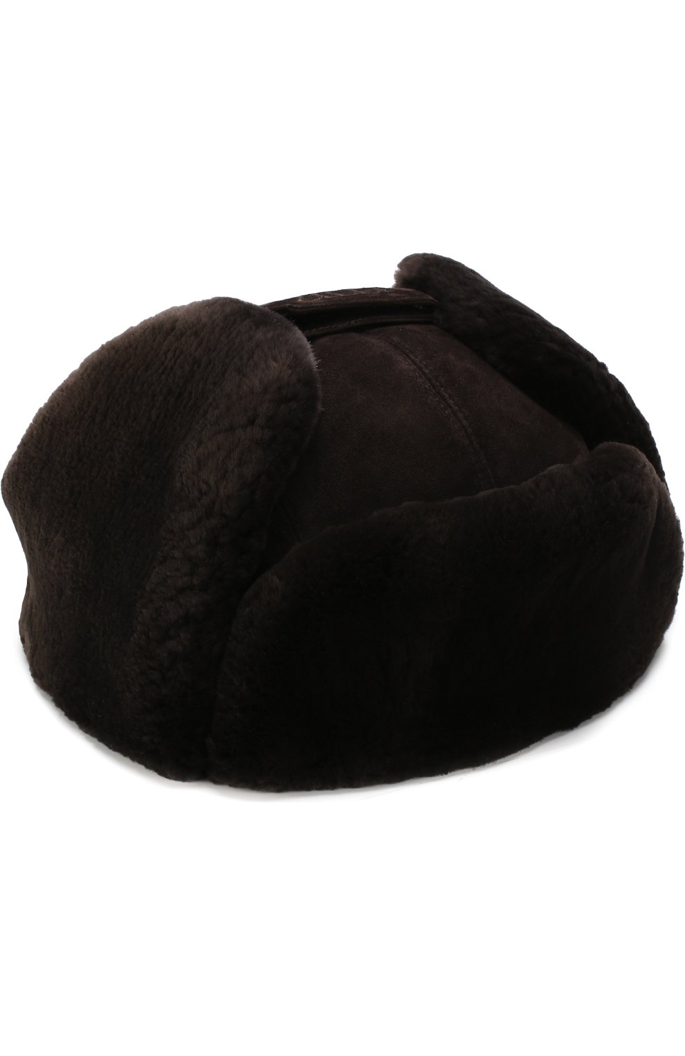 Мужская замшевая шапка-ушанка с меховой отделкой ZILLI темно-коричневого цвета, арт. MHQ-0RS00-01003/2002   Фото 1