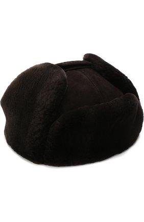Замшевая шапка-ушанка с меховой отделкой | Фото №1