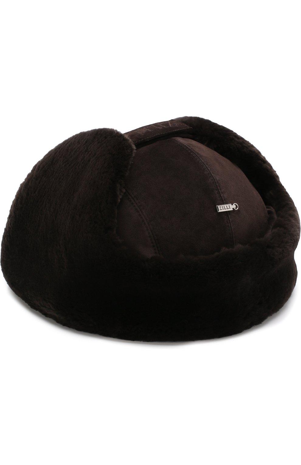 Мужская замшевая шапка-ушанка с меховой отделкой ZILLI темно-коричневого цвета, арт. MHQ-0RS00-01003/2002   Фото 2