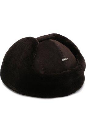 Замшевая шапка-ушанка с меховой отделкой | Фото №2