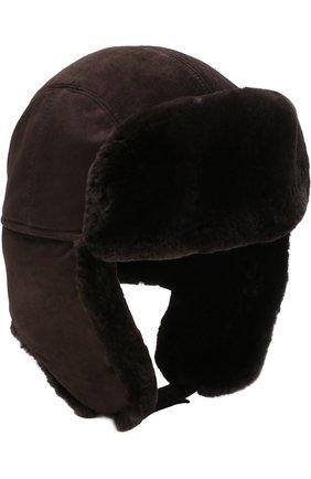 Мужская замшевая шапка-ушанка с меховой отделкой ZILLI темно-коричневого цвета, арт. MHQ-0RS00-01003/2002   Фото 3
