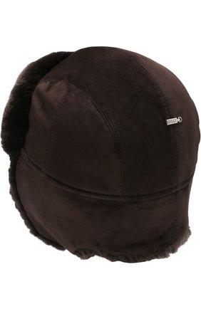 Мужская замшевая шапка-ушанка с меховой отделкой ZILLI темно-коричневого цвета, арт. MHQ-0RS00-01003/2002   Фото 4