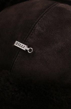 Мужская замшевая шапка-ушанка с меховой отделкой ZILLI темно-коричневого цвета, арт. MHQ-0RS00-01003/2002   Фото 5