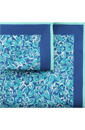 Мужской шелковый платок с принтом KITON бирюзового цвета, арт. UP0CH/7P76 | Фото 1