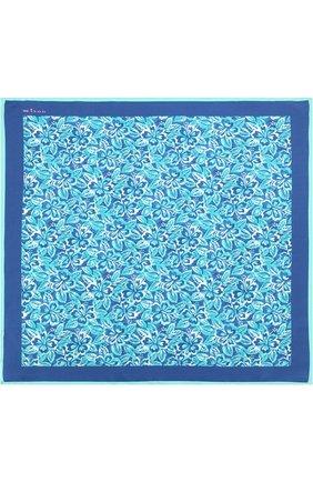 Мужской шелковый платок с принтом KITON бирюзового цвета, арт. UP0CH/7P76 | Фото 3