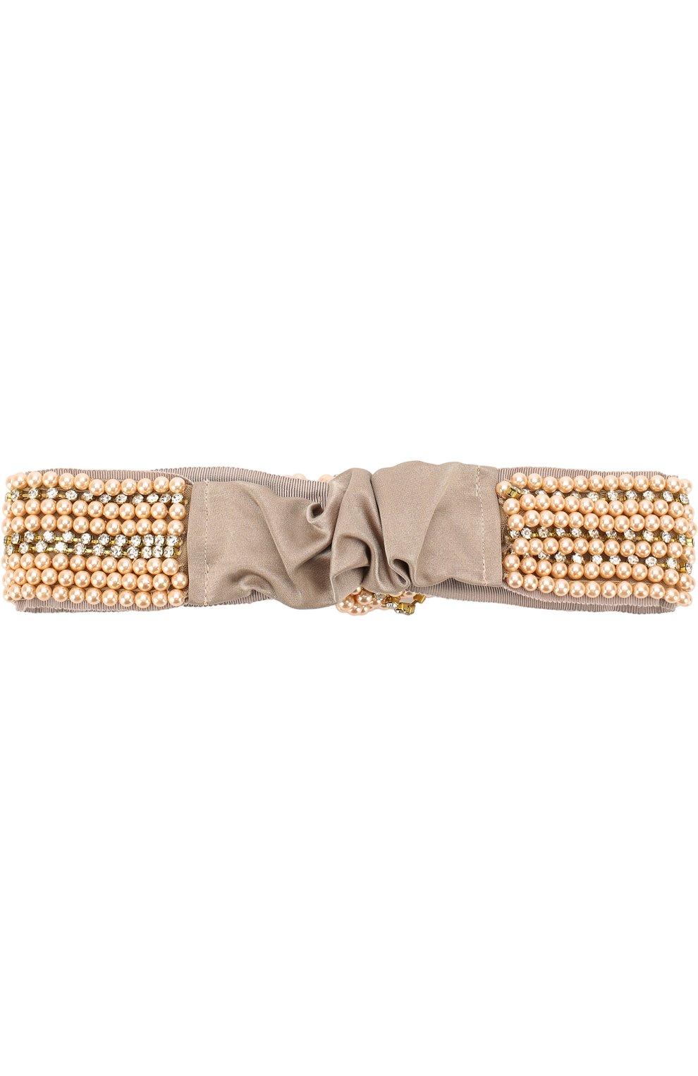 Женская шелковая повязка с вышивкой из бусин JENNIFER BEHR бежевого цвета, арт. 76AE1 | Фото 2