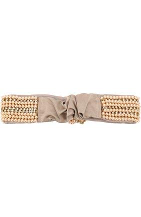 Шелковая повязка с вышивкой из бусин Jennifer Behr бежевого цвета   Фото №1