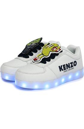 Детские кеды с подсветкой на подошве и usb кабелем KENZO белого цвета, арт. KL81538 | Фото 2