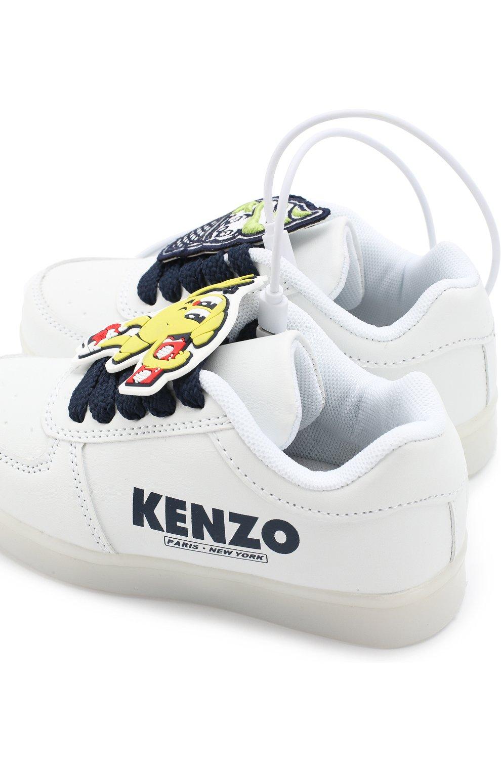 Детские кеды с подсветкой на подошве и usb кабелем KENZO белого цвета, арт. KL81538 | Фото 6