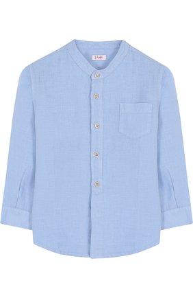 Детская льняная рубашка с воротником-стойкой IL GUFO голубого цвета, арт. P18CL016L6006/2A-4A | Фото 1