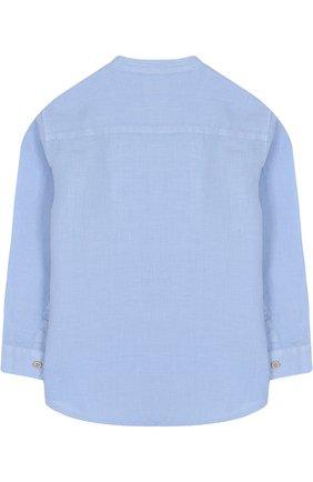 Детская льняная рубашка с воротником-стойкой IL GUFO голубого цвета, арт. P18CL016L6006/2A-4A | Фото 2