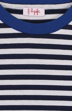 Детская хлопковый лонгслив в полоску IL GUFO синего цвета, арт. P18TA139M1067/2A-4A   Фото 3