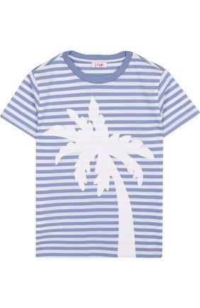 Хлопковая футболка в полоску с принтом | Фото №1