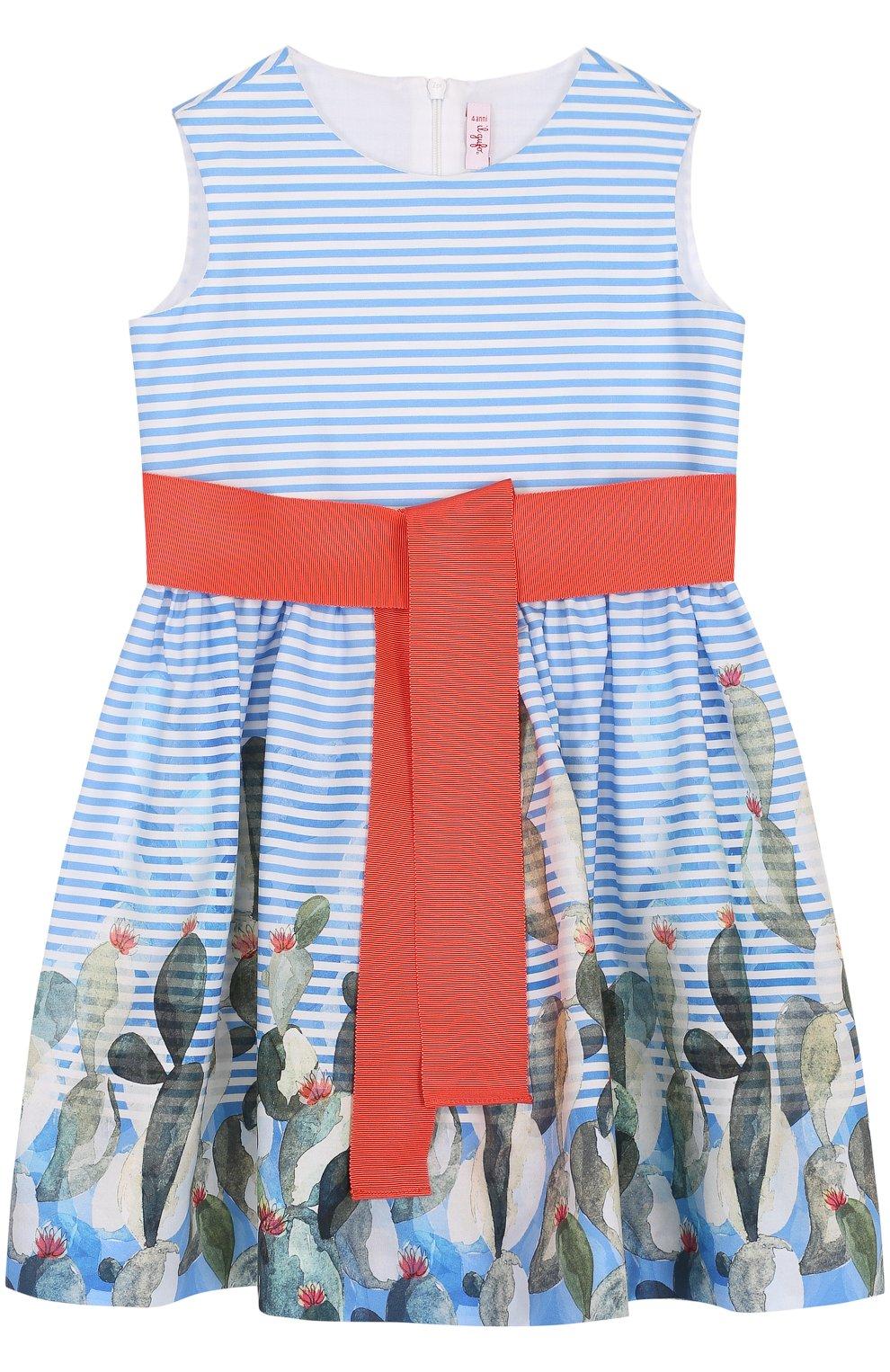 Детское хлопковое мини-платье с широким поясом и принтом IL GUFO голубого цвета, арт. P18VA215C4035/2A-4A | Фото 1