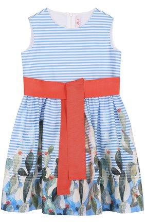 Хлопковое мини-платье с широким поясом и принтом | Фото №1