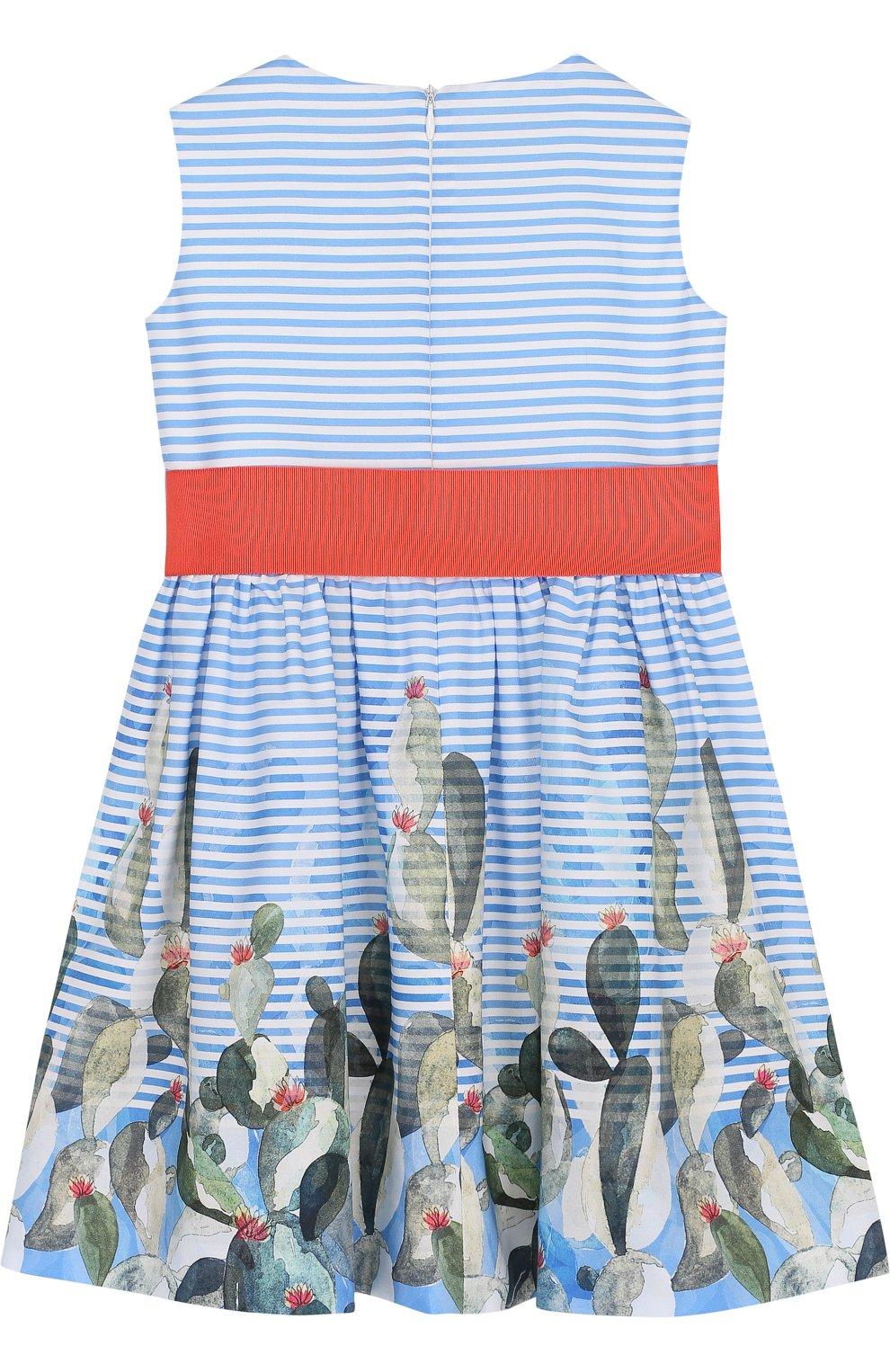 Детское хлопковое мини-платье с широким поясом и принтом IL GUFO голубого цвета, арт. P18VA215C4035/2A-4A | Фото 2