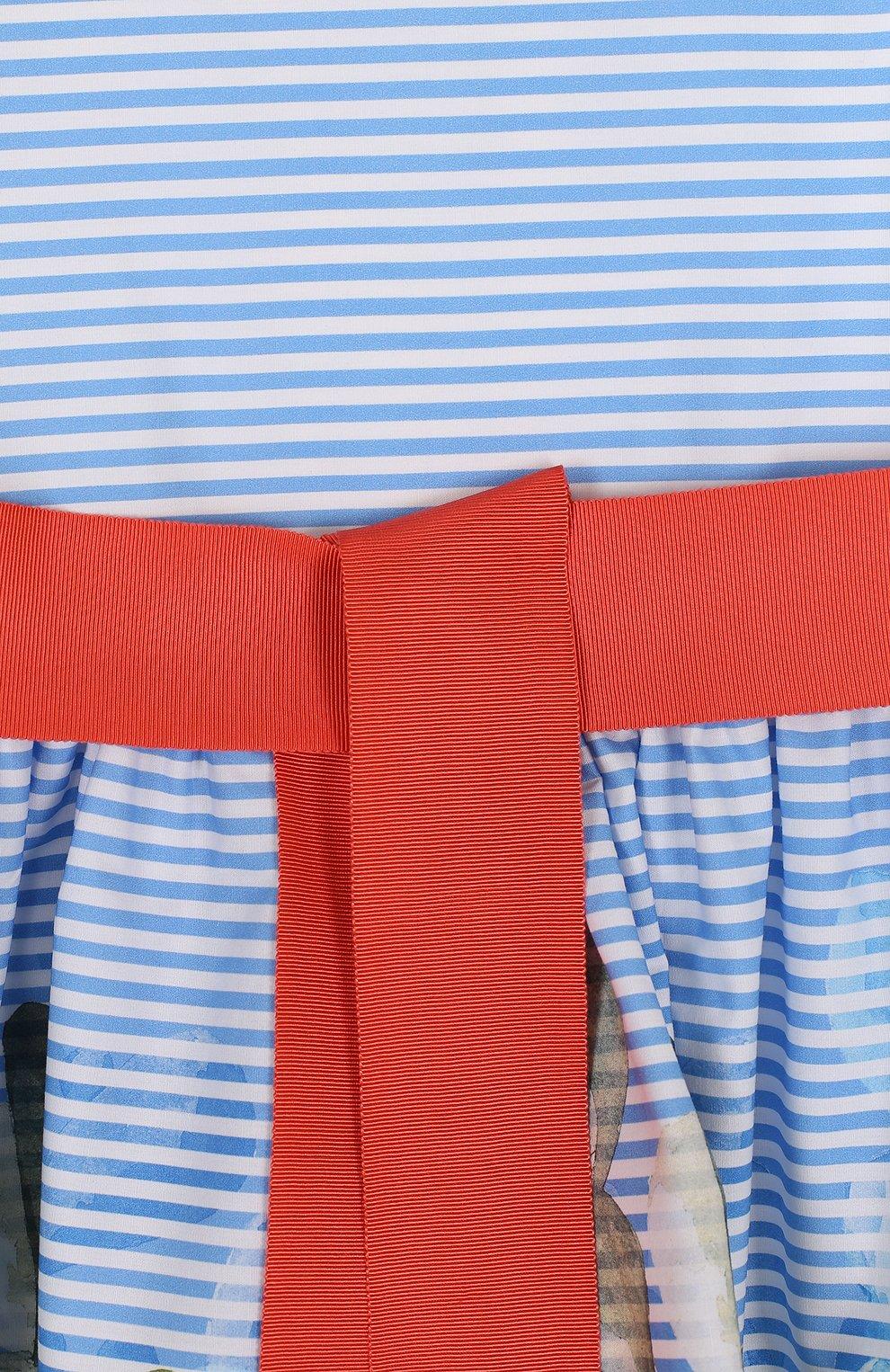 Детское хлопковое мини-платье с широким поясом и принтом IL GUFO голубого цвета, арт. P18VA215C4035/2A-4A | Фото 3