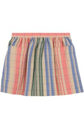 Хлопковая мини-юбка с накладными карманами | Фото №1