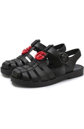Резиновые сандалии на ремешке с декором | Фото №1