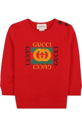 Детский хлопковый свитшот с логотипом бренда GUCCI красного цвета, арт. 497819/X9P52 | Фото 1