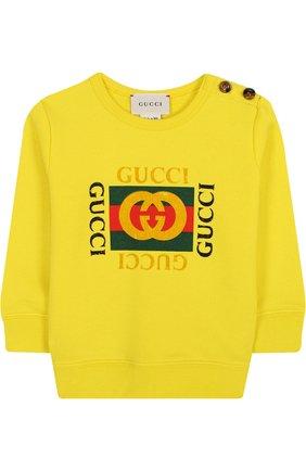 Детский хлопковый свитшот с логотипом бренда GUCCI желтого цвета, арт. 497819/X9P52 | Фото 1