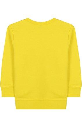 Детский хлопковый свитшот с логотипом бренда GUCCI желтого цвета, арт. 497819/X9P52 | Фото 2