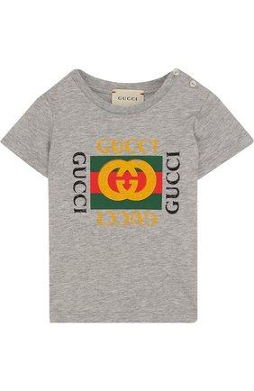 Детский хлопковая футболка с логотипом бренда GUCCI серого цвета, арт. 497845/X3L91 | Фото 1