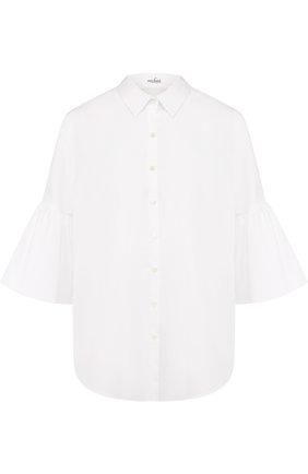 Женская однотонная хлопковая блуза с укороченным рукавом Van Laack, цвет белый, арт. CINDY_160049_SS18 в ЦУМ | Фото №1