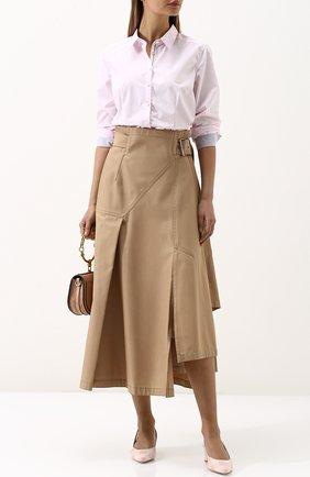 Женская однотонная приталенная блуза из хлопка Van Laack, цвет белый, арт. VELVET-FPB_160049_SS18 в ЦУМ | Фото №1