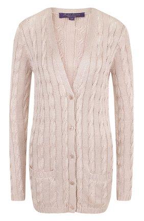 Женский удлиненный шелковый кардиган фактурной вязки RALPH LAUREN розового цвета, арт. 290703703 | Фото 1