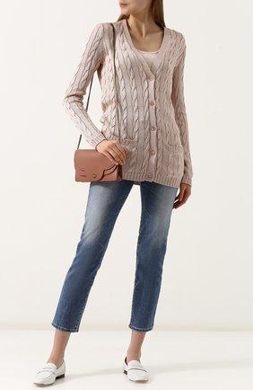 Женский удлиненный шелковый кардиган фактурной вязки RALPH LAUREN розового цвета, арт. 290703703 | Фото 2