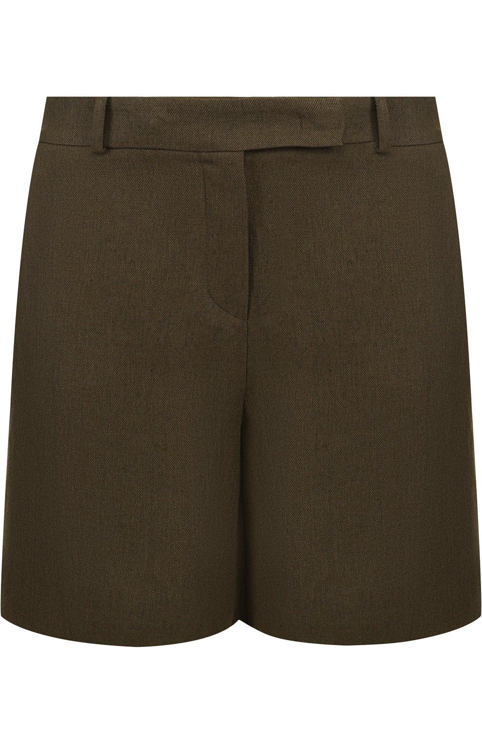 Женские льняные шорты LORO PIANA хаки цвета, арт. FAI0750 | Фото 1