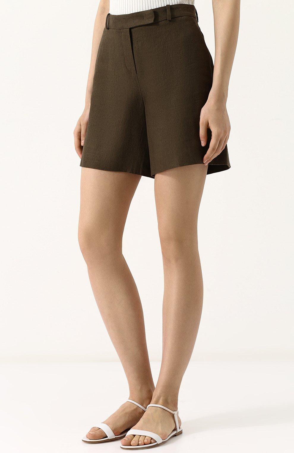 Женские льняные шорты LORO PIANA хаки цвета, арт. FAI0750 | Фото 3