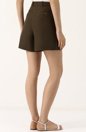 Женские льняные шорты LORO PIANA хаки цвета, арт. FAI0750 | Фото 4