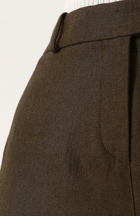 Женские льняные шорты LORO PIANA хаки цвета, арт. FAI0750 | Фото 5