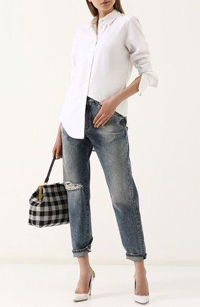 Женская однотонная хлопковая блуза свободного кроя Equipment, цвет белый, арт. 18-1-Q2000-TP0147 в ЦУМ | Фото №1