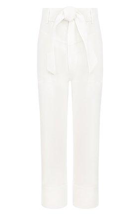 Однотонные льняные брюки с поясом | Фото №1
