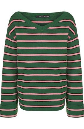 Пуловер из смеси хлопка и шерсти с V-образным вырезом | Фото №1