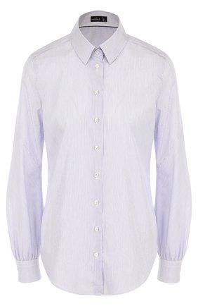 Женская приталенная хлопковая блуза в полоску Van Laack, цвет синий, арт. MAYLA-PSDI_151256_SS18 в ЦУМ | Фото №1