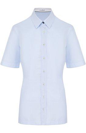 Женская приталенная хлопковая блуза с коротким рукавом Van Laack, цвет голубой, арт. ELLI-FPB_160049_SS18 в ЦУМ | Фото №1