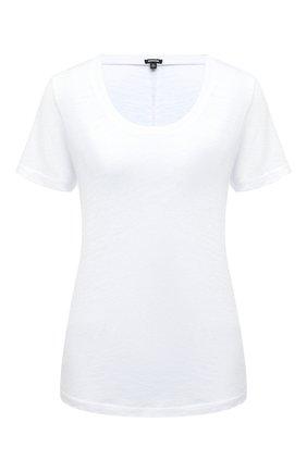 Однотонная футболка прямого кроя с круглым вырезом | Фото №1