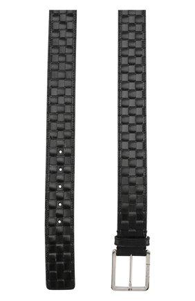 Кожаный ремень с металлической пряжкой Cortigiani черный | Фото №1