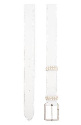 Кожаный ремень с металлической пряжкой Cortigiani белый | Фото №1