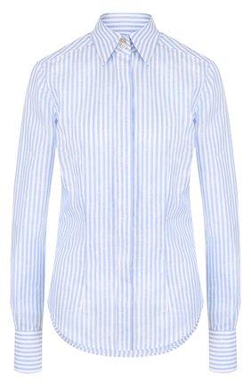 Приталенная блуза из смеси хлопка и льна в полоску  | Фото №1