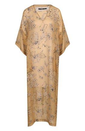 Шелковое платье-миди свободного кроя с принтом | Фото №1