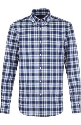 Мужская хлопковая рубашка с воротником button down RALPH LAUREN синего цвета, арт. 790691200 | Фото 1