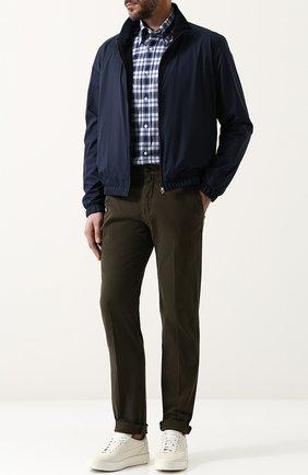 Мужская хлопковая рубашка с воротником button down RALPH LAUREN синего цвета, арт. 790691200 | Фото 2