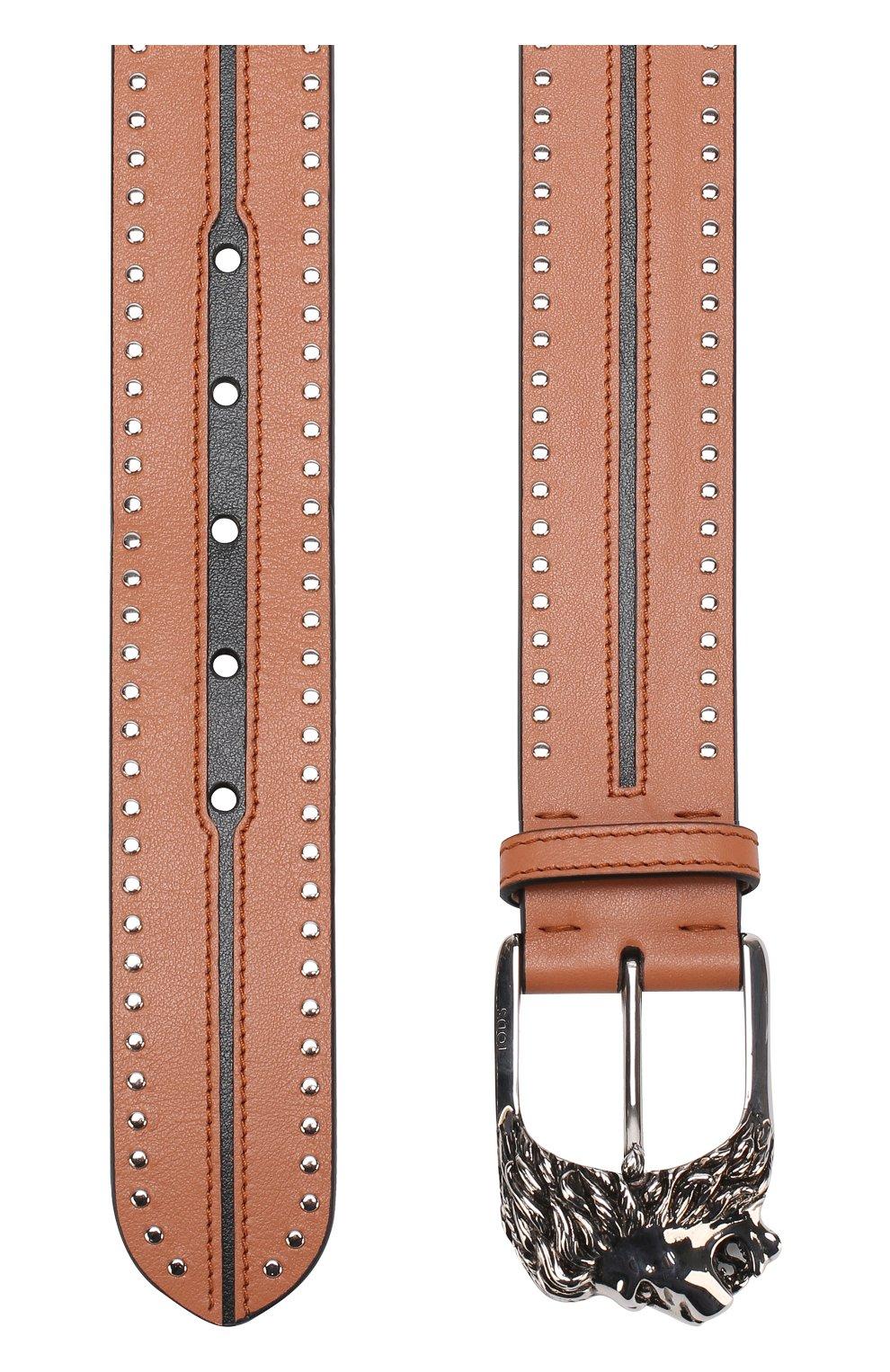 Кожаный ремень с фигурной пряжкой и металлической отделкой | Фото №2